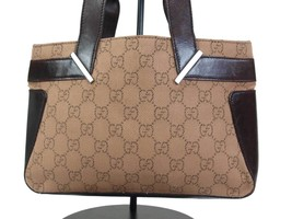 Authentic GUCCI GG Pattern Canvas Leather Browns Mini Hand Bag GH16098L image 2