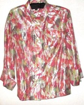 PRINTED BUTTON DOWN WET LOOK TOP SIZE M - $7.00
