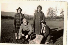 Old Vintage Antique Photograph Group of People With Their Dogs - $5.94