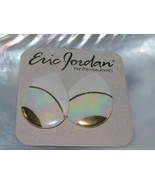 Eric Jordan Handmade Cream & Gilt Teardrop Porcelain Post Earrings for P... - $12.19