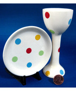 English Polka Dot Eggcup And Plate Soft Colors 1980s Martin Gulliver Mod... - $28.00