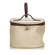 Pre-Loved Hermes White Ivory Canvas Fabric Intercity Vanity Bag France - $658.74