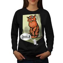 Cat Terrified Mouse Funny Jumper  Women Sweatshirt - $18.99