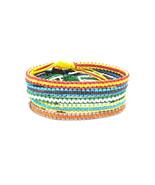 "The ""Stripe"" Waxed Cotton Handmade Thai Wristband Bracelet - $6.49"