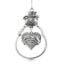 Inspired Silver Chihuahua Mom Pave Heart Snowman Holiday Christmas Tree Ornament - $14.69
