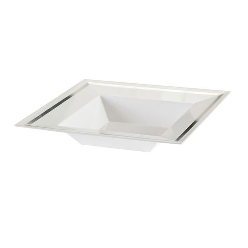 Imperial 5 Oz White Plastic Square Bowl with Silver Band/Case of 120