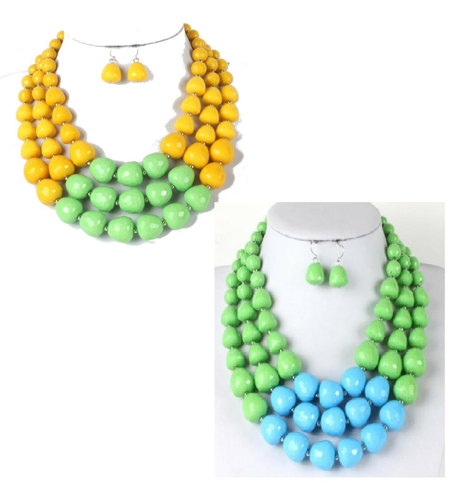 Primary image for Colorblock African Fashion Multi-layers Acrylic Beads Necklace & Earring Set