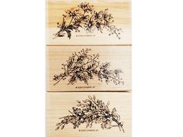 Stampin' Up! Seasonal Sprays Stamp Set, Rubber On Wood, Set of 3 image 1