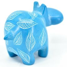 Vaneal Group Hand Crafted Carved Soapstone Light Blue Hippopotamus Hippo Figure image 4