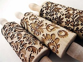 FLOWERS 3 KID ROLLING PIN SET WOODEN LASER CUT MINI ROLLING PINS for EMBOSSED CO