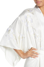 NWT New Designer Natori Orchid Flowers Embroidered Womens Wrap Robe M Wh... - $287.36