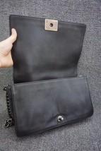 AUTHENTIC CHANEL BLACK CALFSKIN NEW MEDIUM REVERSO BOY FLAP BAG RHW image 6