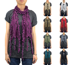 Lace Scarf Long Furball Fringe Embroidery Sewing Floral Tassel Sheer Sol... - $9.95