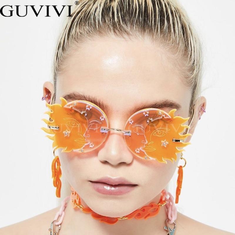 Women 2020 retro steampunk sunglasses men punk sunglasses brand designer eyewear oversized uv400