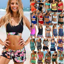 Women's Fashion Swimwear Padded Tankini Set Sporty with Boy Shorts Bikini Swimsu image 2