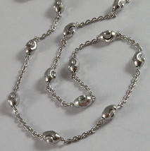 SOLID 18K WHITE GOLD CHAIN NECKLACE FACETED MINI BALLS LINK 17.71 MADE IN ITALY image 1