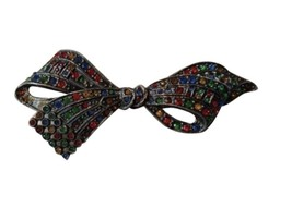 Vintage Bow Shaped Rhinestone Bling Brooch Pin Costume - $18.80