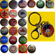 Donald duck Coke Sprite Diet pepsi & more Soda beer cap Keychain