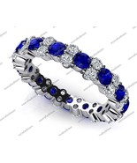 White Gold Plated 925 Silver Round Cut Blue Sapphire & CZ Eternity Wedding Ring - $134.99