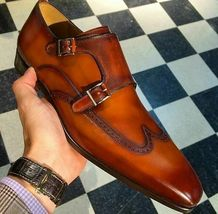 Handmade Men's Brown Wing Tip Monk Strap Dress/Formal Leather Shoes image 3