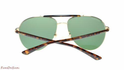 659a94a972e Gucci Men s Aviator Sunglasses GG0014 006 Gold Havana GreenPolarized Lens  60mm