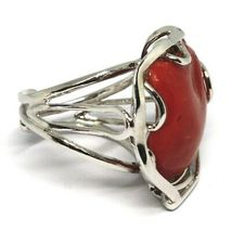 Ring Silber 925, Koralle Rot Natur Herz, Cabochon, Made in Italy image 4