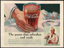 Vintage magazine ad COCA COLA hand holding glass and soda jerk 1937 hori... - $12.99