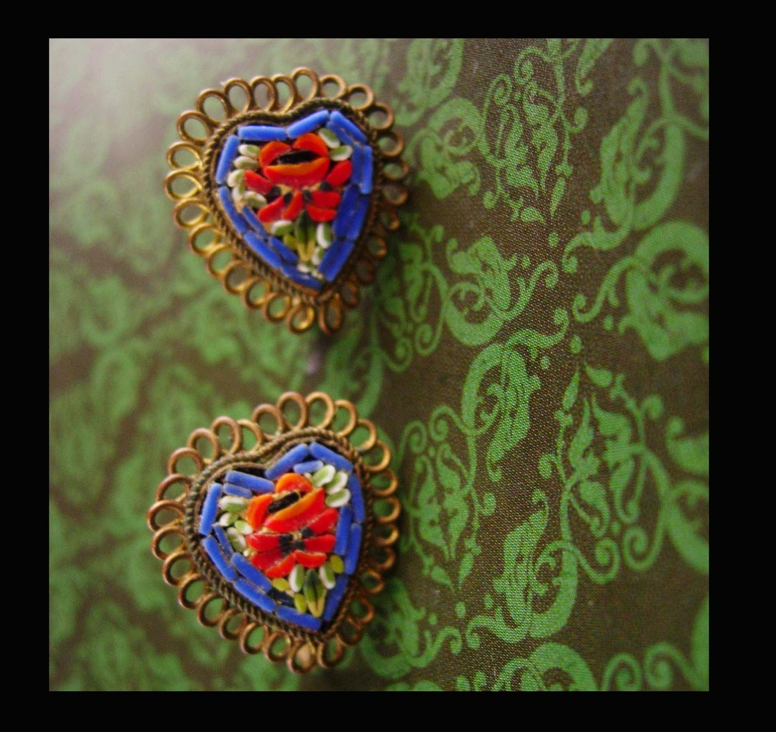 Primary image for Antique micromosaic heart earrings - Made in Italy - screw on - sweetheart