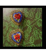 Antique micromosaic heart earrings - Made in Italy - screw on - sweetheart - $75.00