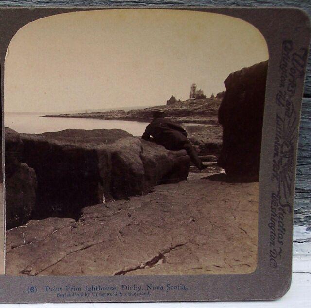 Point Prim Lighthouse, Digby, Nova Scotia 1902 Stereoview