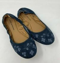 Lucky Brand 11 Echo 2 Ballet Flats Shoes Floral Denim Laced Back Cottage Z3 - $28.99