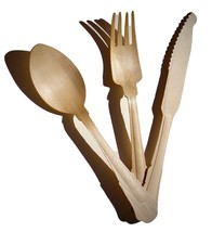 Disposable cutlery (fork -Spoon - Knife ) 75 pc wooden Birch composable  - $27.00