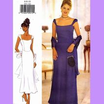 107 WOMENS PRINCESS SEAMED DRESS & SCARF size 6 to 10, SEWING PATTERN UNCUT - $7.95
