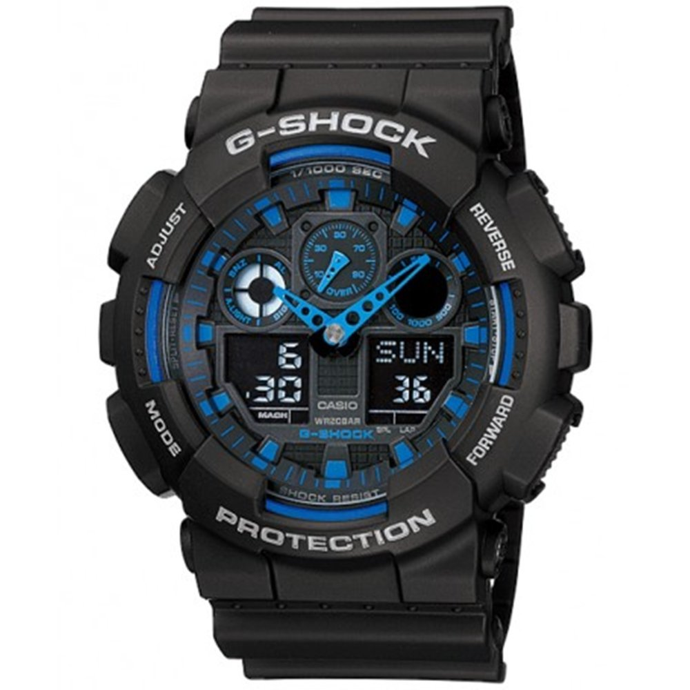 Used, Casio Men's G Shock Blue Analog Digital Watch GA-100-1A2 Wristwatch for sale  USA