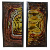CC Home Furnishings 2 Earth Toned Primitive Glass Collage Wall Art Panel... - $233.38