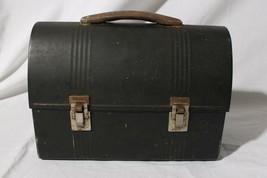 Vintage American Thermos Dark Gray Metal Lunch Box w/ Thermos - $39.55