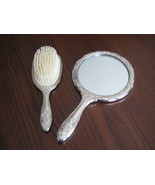 Elegance Vintage Heavy Vanity Set Mirror And Brush Ornate SIlverplated Z... - $22.50