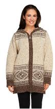 Aran Craft Wool Long Intarsia Zip Hoodie , Natural, Size XXS, MSRP $144 - $79.19