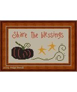 Share The Blessings pumpkin fall PDF cross stitch charts Helga Mandl Des... - $7.00