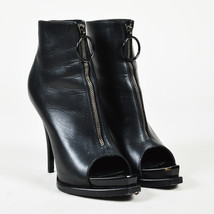 Givenchy Black Leather Peep Toe Zip Front Ankle Boots SZ 38 - $305.00