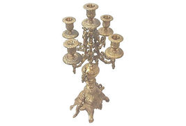 Vintage Baroque Brass Large Ornate Five Arm Candelabra - $775.00