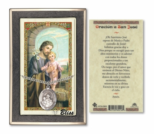 Prayer card with medal  san jose   silver filled  pc7058spss 036s