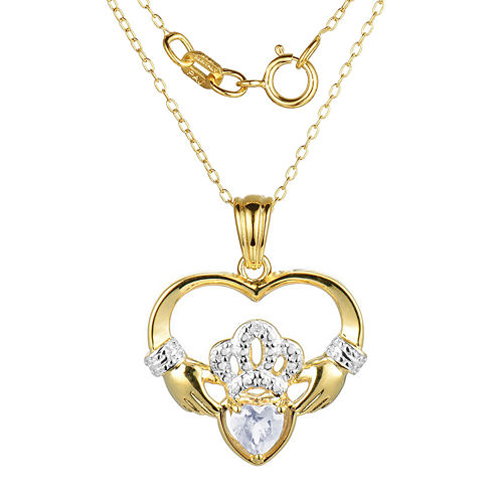 "Primary image for Heart-Shaped D/VVS1 Diamond Claddagh Pendant With 18"" Chain Necklace"