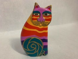 Vintage Laurel Burch Hand Painted Wood Cat Sculpture - $39.59