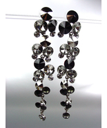 STUNNING Smoky Hematite Black Czech Swarovski Crystals WATERFALL Dangle ... - $39.99