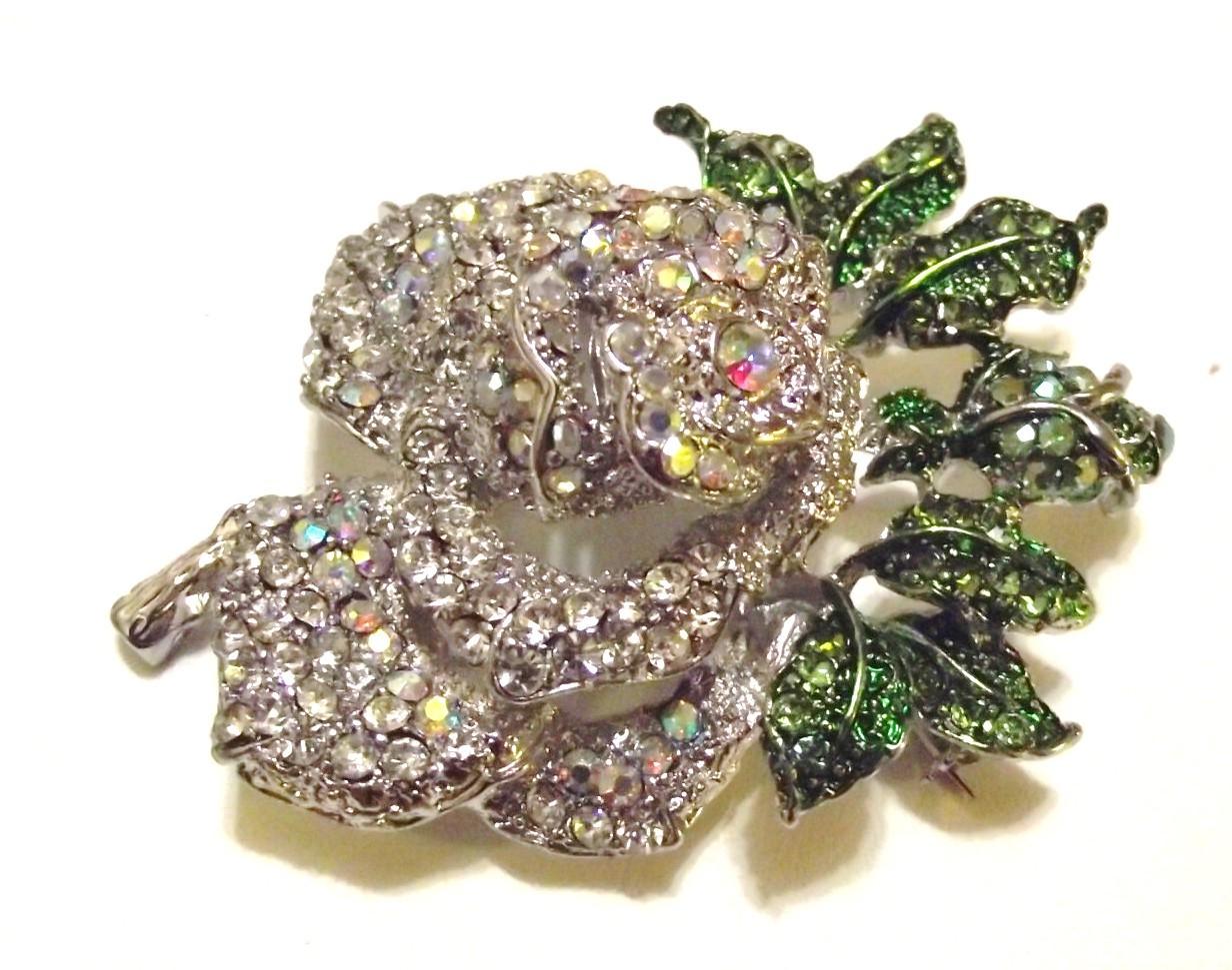 Clear Ab Swarovski Crystal Mini Rose Brooch Pin