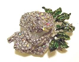 Clear Ab Swarovski Crystal Mini Rose Brooch Pin  image 2
