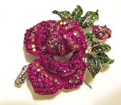 Fushsia Swarovski Crystal Mini Rose Brooch Pin  - $17.99