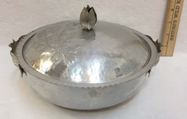 Aluminum Hammered Serving Bowl Lid Casserole Tulip Flower Design Ornate ... - $10.34