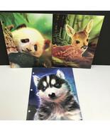 LOT OF 3 - Kittrich Neon Wild Portfolio Pocket Folders Baby Deer Panda M... - $4.98
